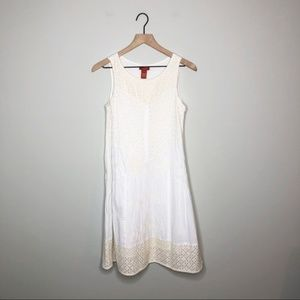 Sundance White / Tan Eyelet Sleeveless Dress